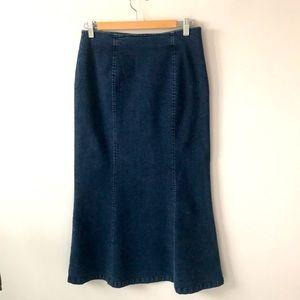 Talbots long stretch denim skirt